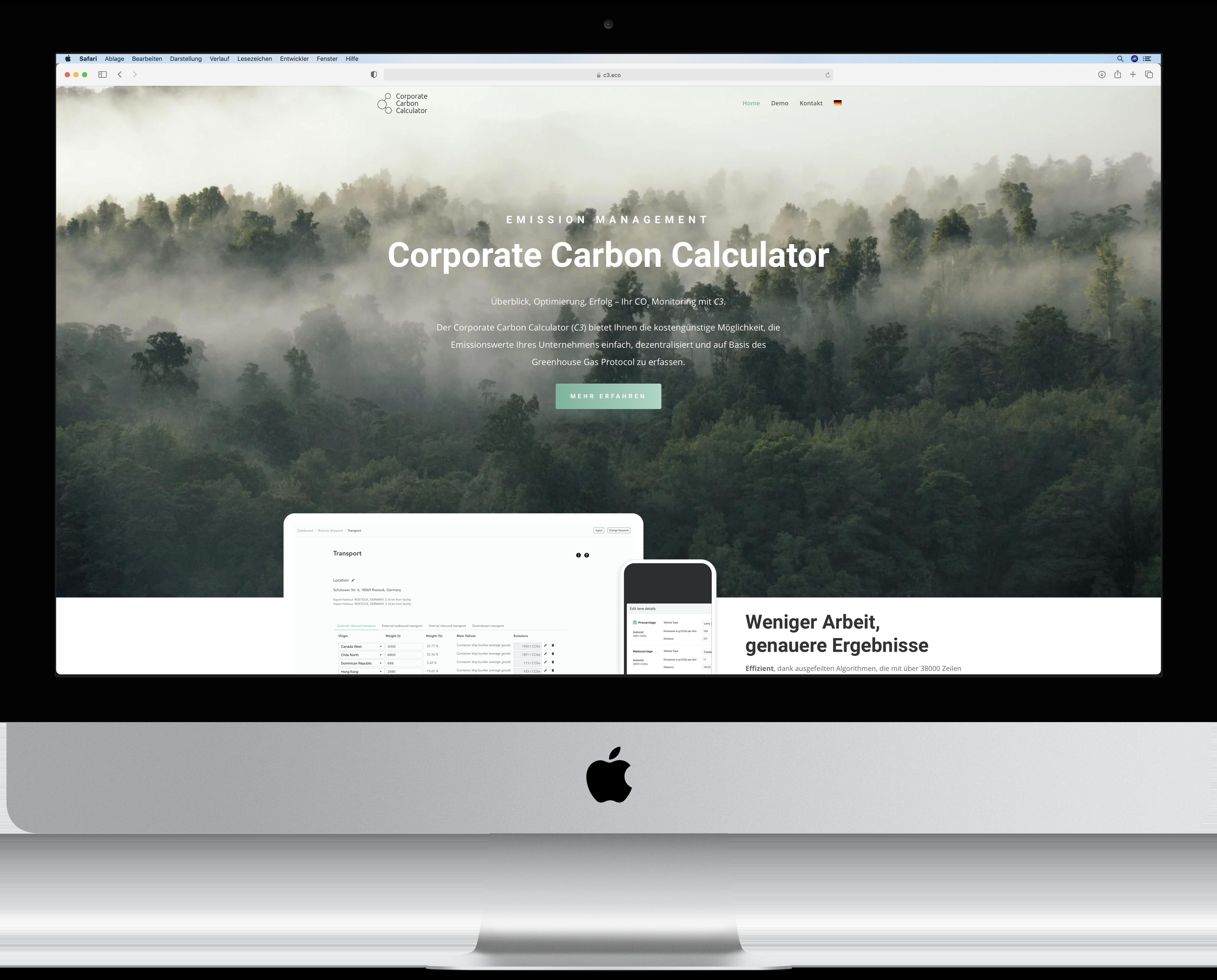 Website des Corporate Carbon Calculator, kurz C3, mit Ansicht der Landingpage.